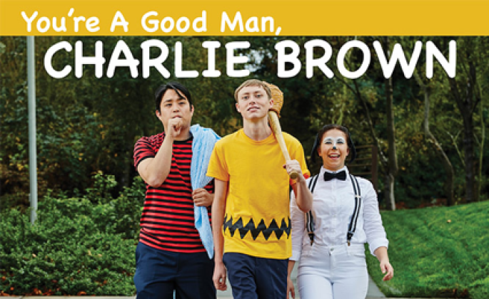 "SSU Students Matthew Adiao (Linus), Noah Evans (Charlie Brown) and Emily Rice (Snoopy),  perform in Clark Gesner's award-winning musical ""You're A Good Man, Charlie Brown,"""