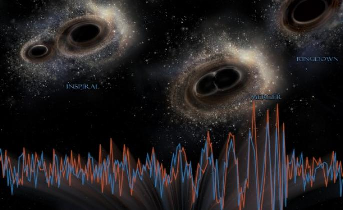 illustration of black holes colliding