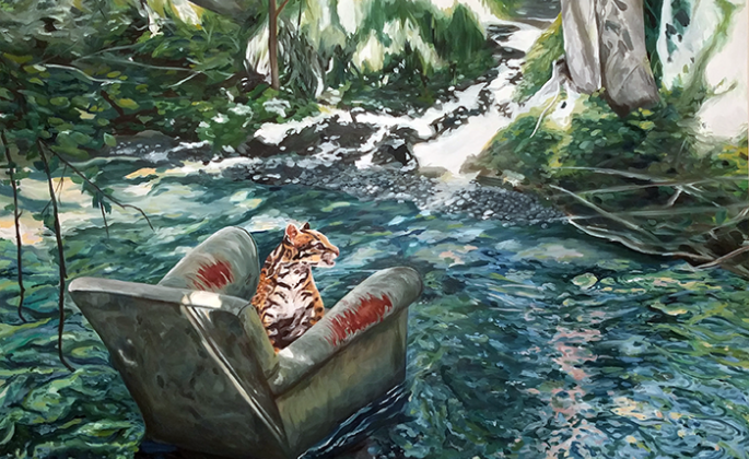 Mindy Kral, Ocelot, 2017, oil on panel