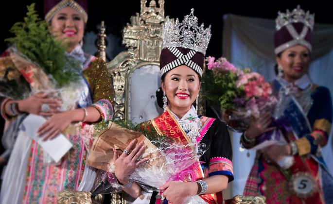Cindy Cha being crowned Miss Hmong California 2018 // Photo by Atary Xiong