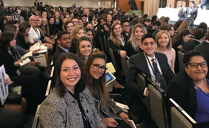 Claudia Sisomphou with the 2017 SSU Model UN Club in New York.