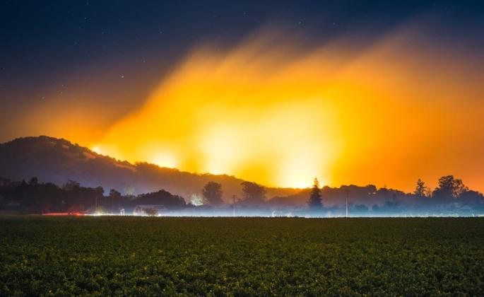"Christopher Woodcock, ""Nuns Fire burning east of the City of Sonoma, 4 am October 15th 2017,"" 2018, photo"