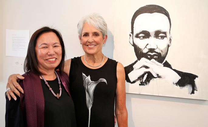 SSU President Judy Sakaki with artist Joan Baez and her painting of Martin Luther King, Jr.