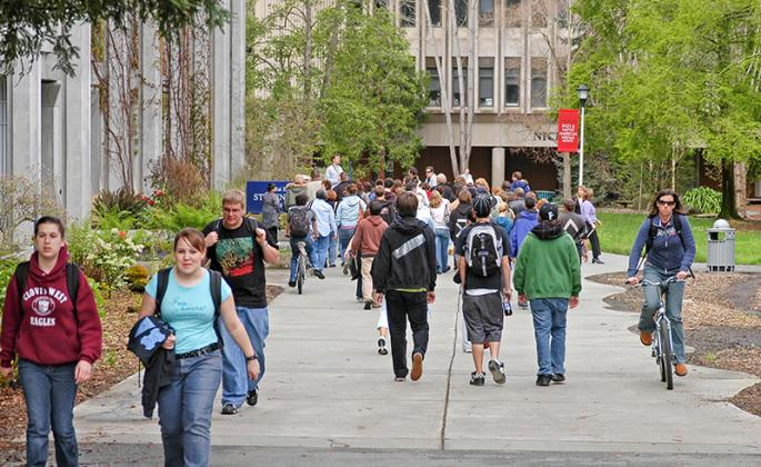 students walking on the ssu campus