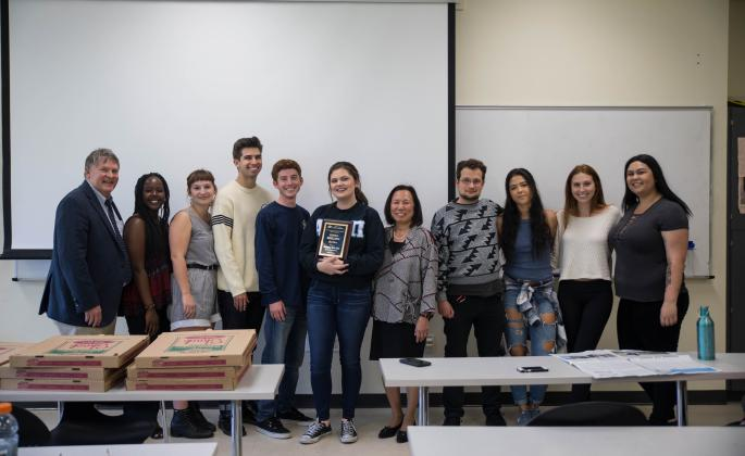 President Judy K. Sakaki with The Sonoma State STAR editors and their new award. // Photo by The Sonoma State STAR