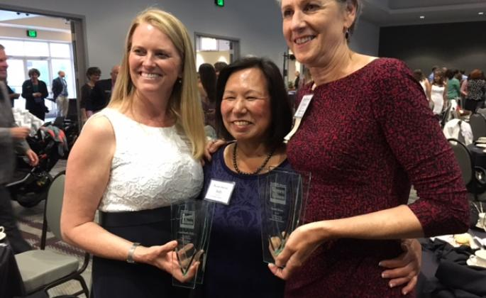 Dean Lynn Stauffer, President Judy K. Sakaki and Business Career Center Director Sarah Dove