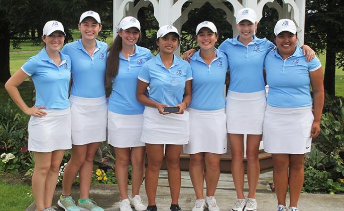 women's golf with the ssu invite trophy
