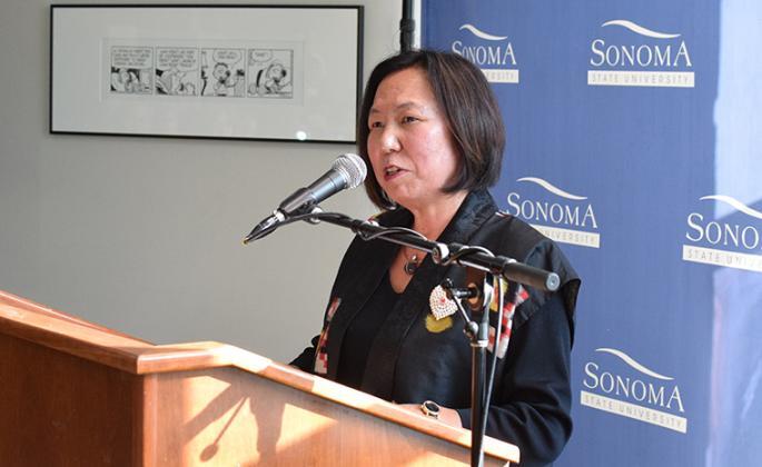 judy sakaki speaking at japanese nternment camp talk