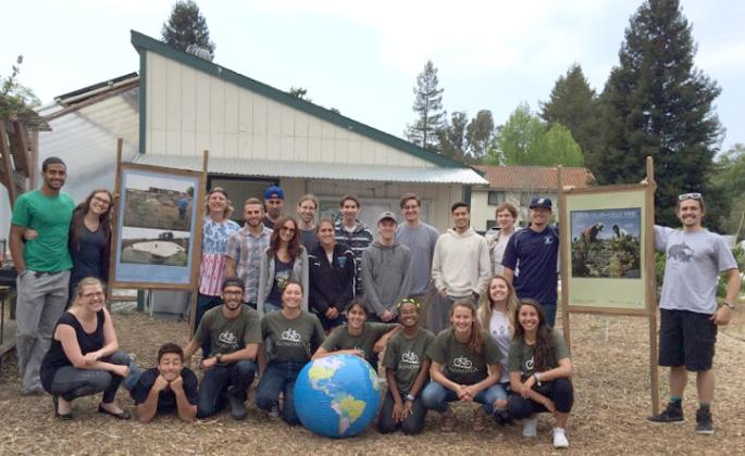 group of students participating in earth day