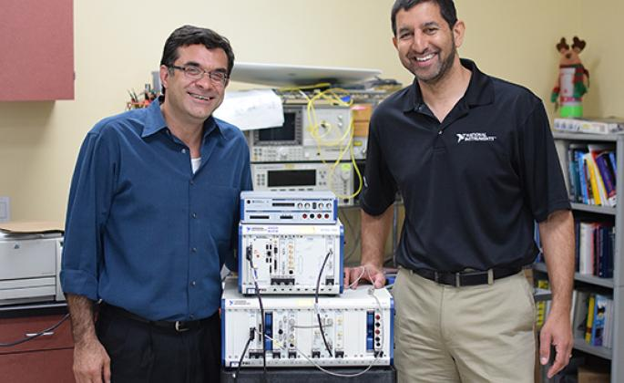 SSU engineering science professor Farid Farahmand and National Instruments VP of R&D Jin Bains with recently donated equipment.