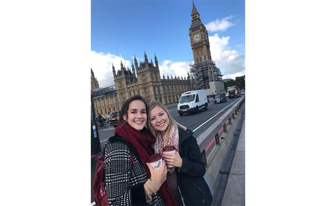 SSU students Marissa Starman, left, and Nicole Hickmott, right, in front of Big Ben in London. Both are studying Psychology abroad at Kingston University in London. // Photo by Marissa Starman