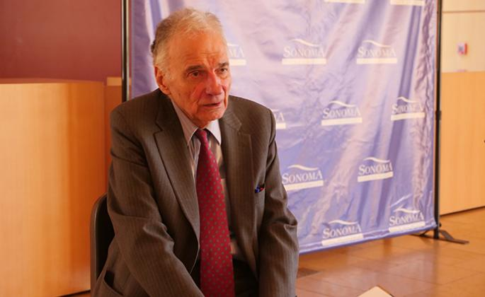 Ralph Nader sitting down with SSU News