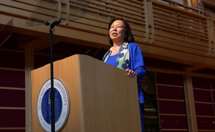 President Sakaki speaking during convocation